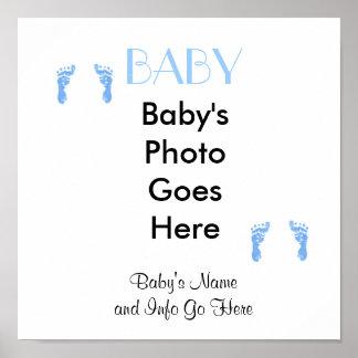 Baby Boy Footprints Canvas Art Poster