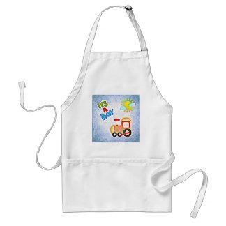 baby boy footprints infant newborn crib train blue adult apron