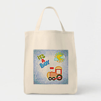 baby boy footprints infant newborn crib train blue tote bag