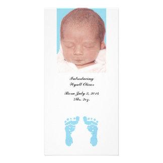 """Baby Boy Footprints"" Photo Birth Announcements"