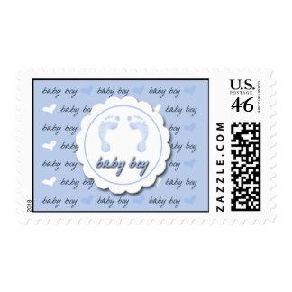 baby boy footprints postage stamp