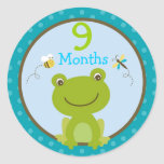 Baby Boy Frog Bee Monthly Milestone Stickers