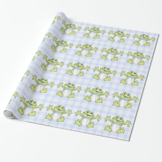 Baby Boy Frog cartoon glossy wrapping paper