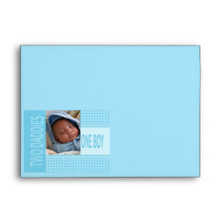 Baby Boy Gay Dads Birth Announcement Envelope