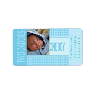Baby Boy Gay Dads Birth Announcement Label
