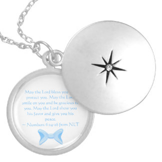 Baby boy Gift from God blue bow Bible verse Locket Necklace