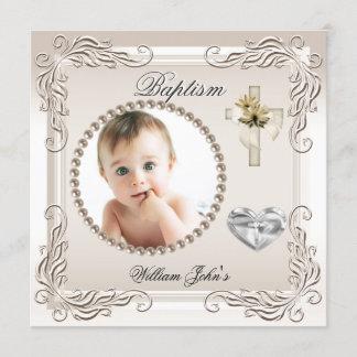 Baby Boy Girl Beige Cream Christening Baptism Announcement