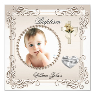 Baby Boy Girl Beige Cream Christening Baptism Card