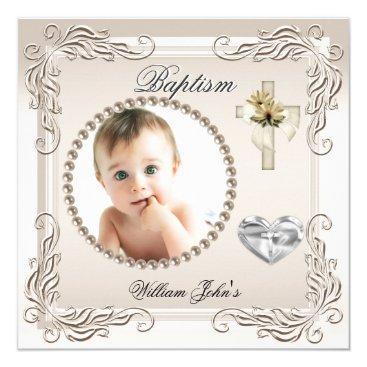 Toddler & Baby themed Baby Boy Girl Beige Cream Christening Baptism Card