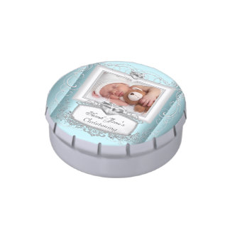 Baby Boy Girl Blue Christening Baptism Cross Favor Jelly Belly Tins