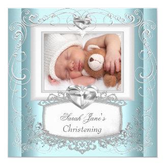 Baby Boy Girl Blue Christening Baptism Cross White 5.25x5.25 Square Paper Invitation Card