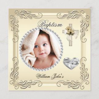 Baby Boy Girl Gold Cream Christening Baptism Cross Announcement