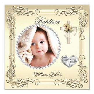 Baby Boy Girl Gold Cream Christening Baptism Cross Invitation