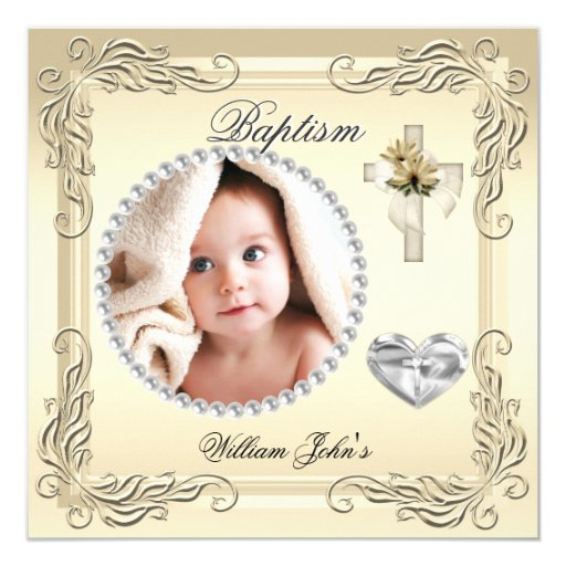Baby Boy Girl Gold Cream Christening Baptism Cross 5.25x5.25 Square Paper Invitation Card