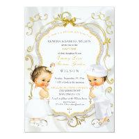 Baby Boy & Girl Twins Baptism Christening Gold Card