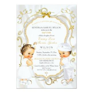 Baby Boy & Girl Twins Baptism Christening Gold Invitation