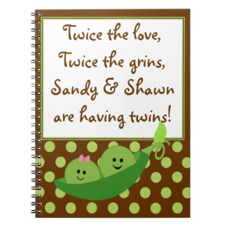 Baby Boy Girl Twins Peas in a Pod Notebook