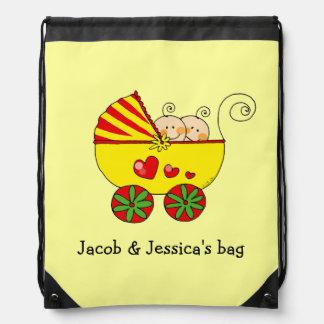 baby boy girl twins (yellow pram)- name customized drawstring bag