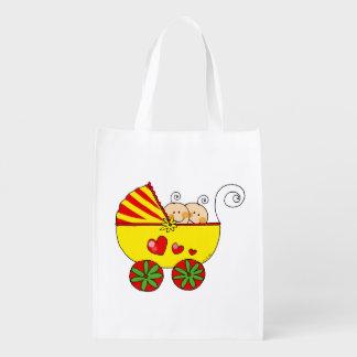 baby boy girl twins (yellow pram) reusable grocery bag