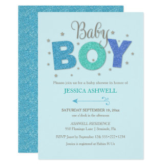 Baby Boy Glitter Stars Blue Turquoise Any Color Card