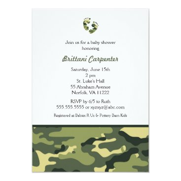 Toddler & Baby themed Baby Boy Green Camouflage Shower Invites feet CAMO