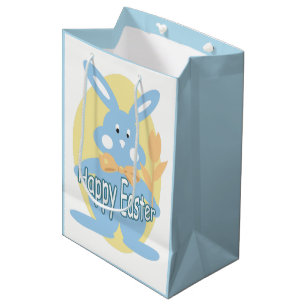 Cute easter bunny gift bags zazzle baby boy happy easter bunny mgb medium gift bag negle Images