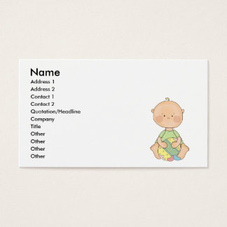 baby boy holding easter egg business card