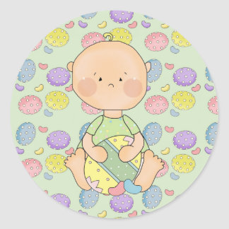 baby boy holding easter egg classic round sticker