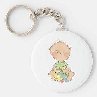 baby boy holding easter egg basic round button keychain