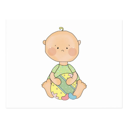 baby boy holding easter egg postcard