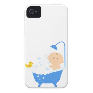 Baby Boy in Bath Tub - Baby Shower Print iPhone 4 Case-Mate Case