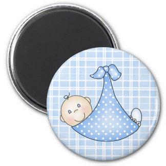 Baby Boy in Blanket   2 Inch Round Magnet