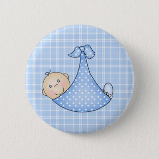Baby Boy in Blanket   Pinback Button