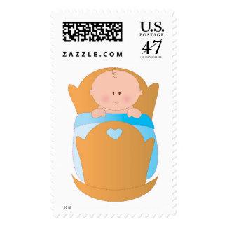 Baby Boy in Cradle Postage