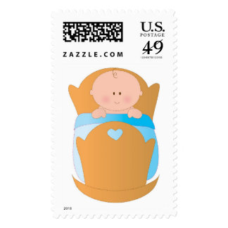 Baby Boy in Cradle Stamp