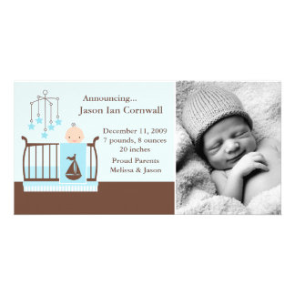 Baby Boy in Crib Photo Birth Announcements