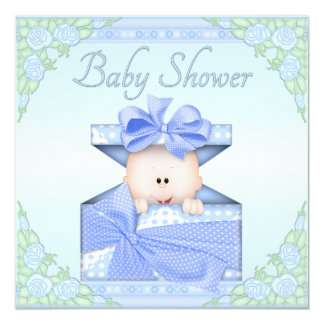 Baby Boy in Gift Box and Roses Baby Shower Card