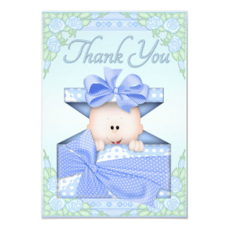 Baby Boy in Gift Box and Roses Thank You Card