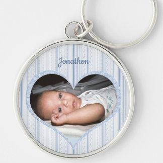 Baby Boy in Heart Frame on Delicate Blue Stripes Keychain