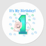 Baby Boy It's My 1st Birthday Round Sticker