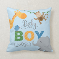 Baby Boy | Jungle Animals Throw Pillow