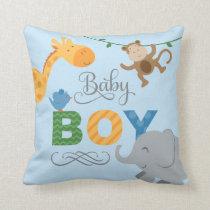 Baby Boy   Jungle Animals Throw Pillow