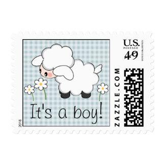 Baby Boy Lamb Postage Stamp