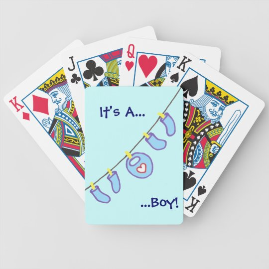Baby Boy Laundry It's A Boy! Personalized Bicycle Playing Cards