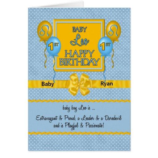 Baby Boy Leo 1st Birthday Zodiac Greeting Card