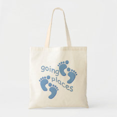 Baby Boy Little Feet Going Places Footprints Bag at Zazzle