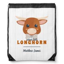 Baby Boy Longhorn Burnt Orange Baby Drawstring Bag