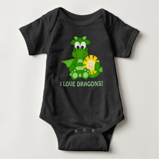 Baby boy love Dragons bodysuit