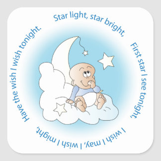 Baby Boy Make a Wish Square Sticker
