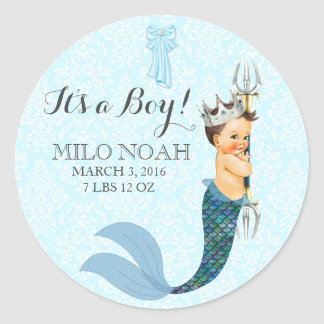 Baby Boy Merman Merboy Prince Crown Classic Round Sticker